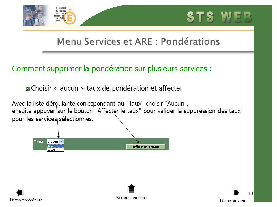 13 Menu Services et ARE : Pondérations Retour sommaire Diapo précédente Diapo suivante Comment supprimer la pondération sur plusieurs services : Chois