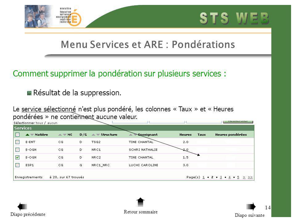 14 Menu Services et ARE : Pondérations Comment supprimer la pondération sur plusieurs services : Résultat de la suppression. Le service sélectionné n'