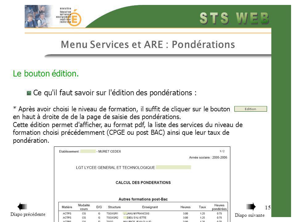 15 Menu Services et ARE : Pondérations Le bouton édition.