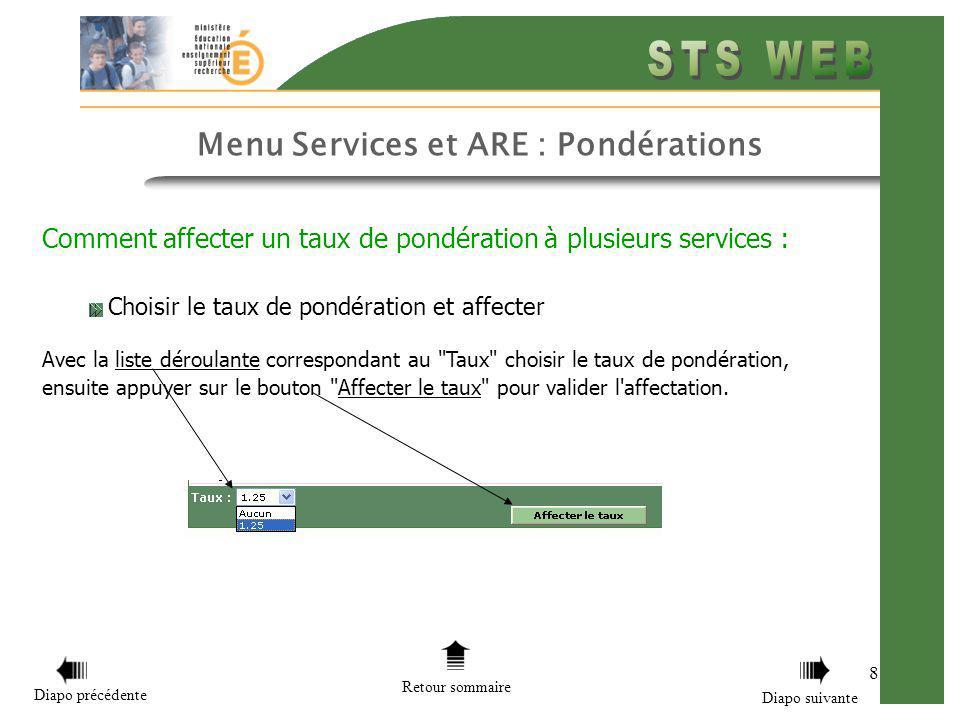 8 Menu Services et ARE : Pondérations Comment affecter un taux de pondération à plusieurs services : Choisir le taux de pondération et affecter Avec l