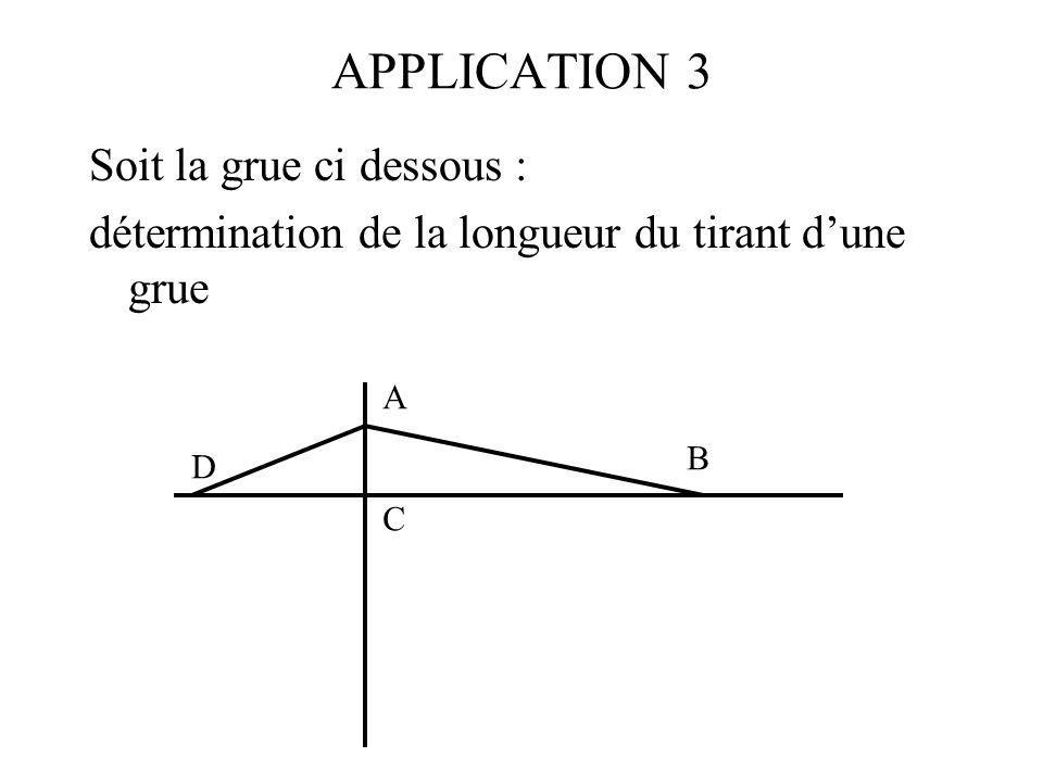 APPLICATION 3 Soit la grue ci dessous : détermination de la longueur du tirant dune grue C A B D