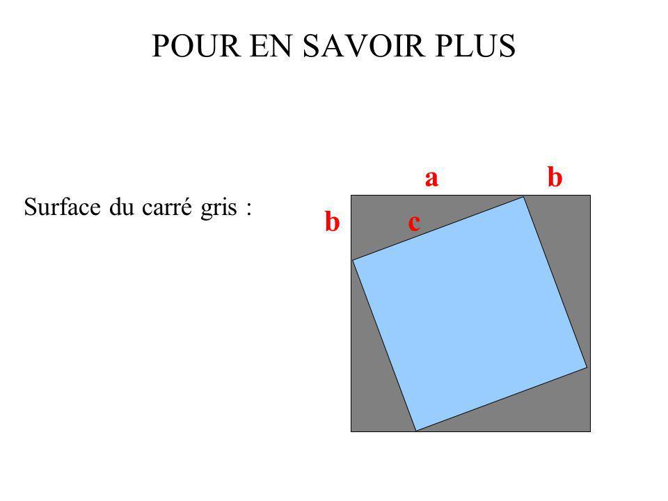POUR EN SAVOIR PLUS Surface du carré gris : a bc b