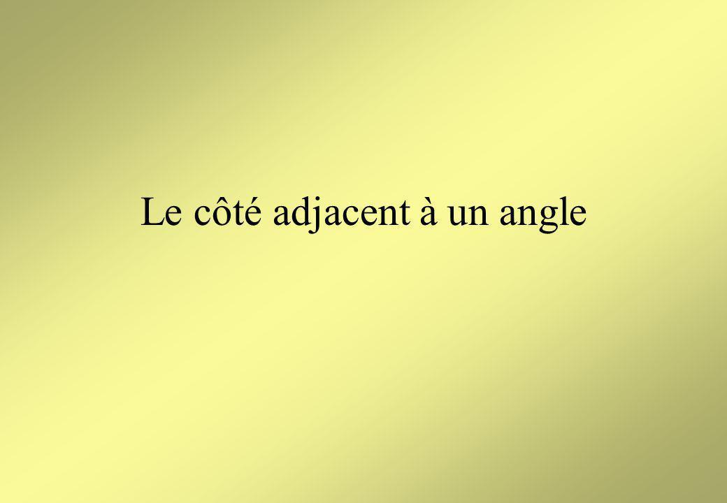 B AC AB est le côté opposé Le côté opposé à langle C est le côté de langle droit du triangle qui nest pas un côté de langle C.