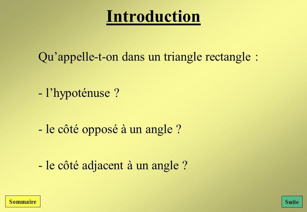Sommaire : I- Les différents côtés dun triangle rectangle : Lhypoténuse Le côté opposé à un angle Le côté adjacent à un angle Résumé II- Les relations