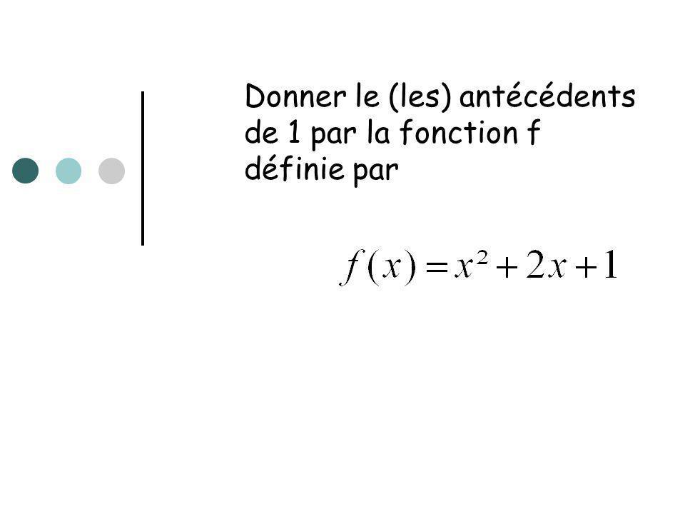 Donner le (les) antécédents de 1 par la fonction f définie par