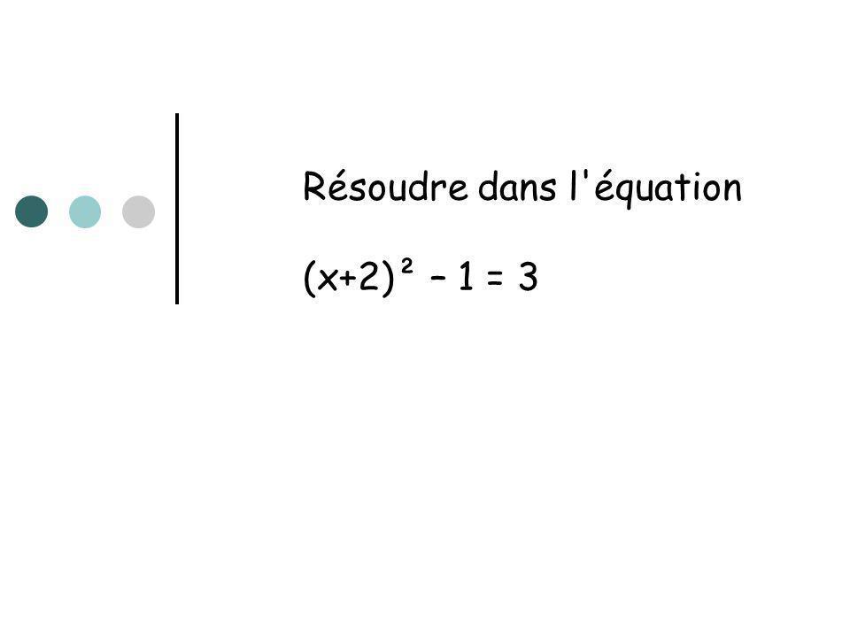 Résoudre dans l'équation (x+2)² – 1 = 3
