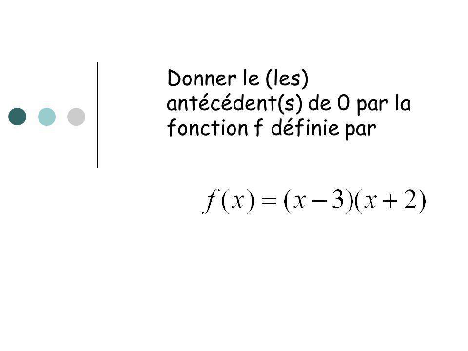 Donner le (les) antécédent(s) de 0 par la fonction f définie par