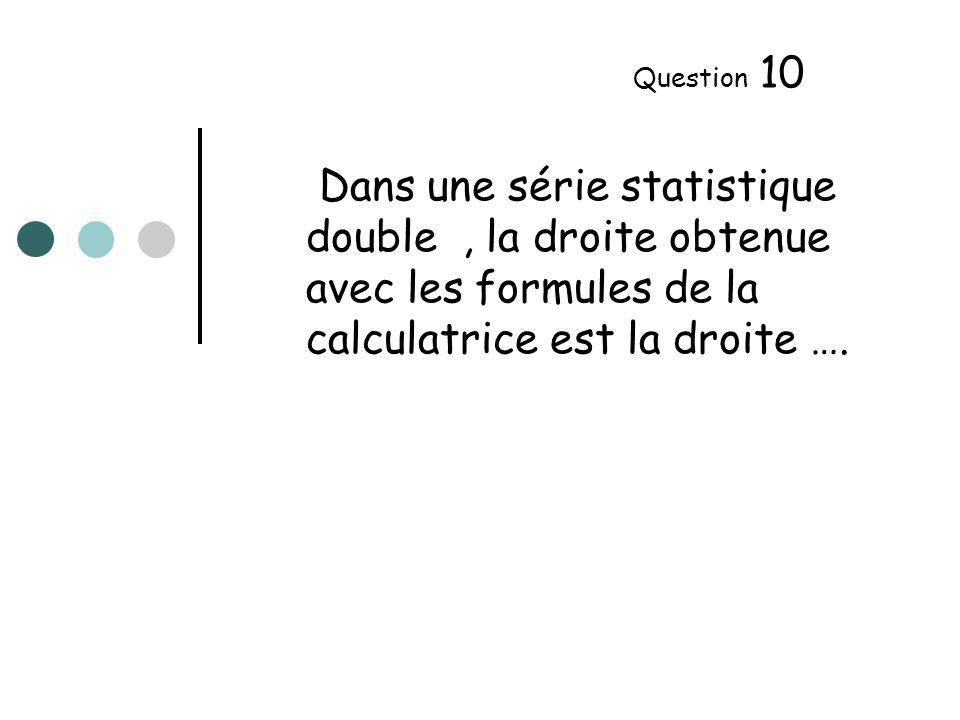 Dans une série statistique double, la droite obtenue avec les formules de la calculatrice est la droite ….