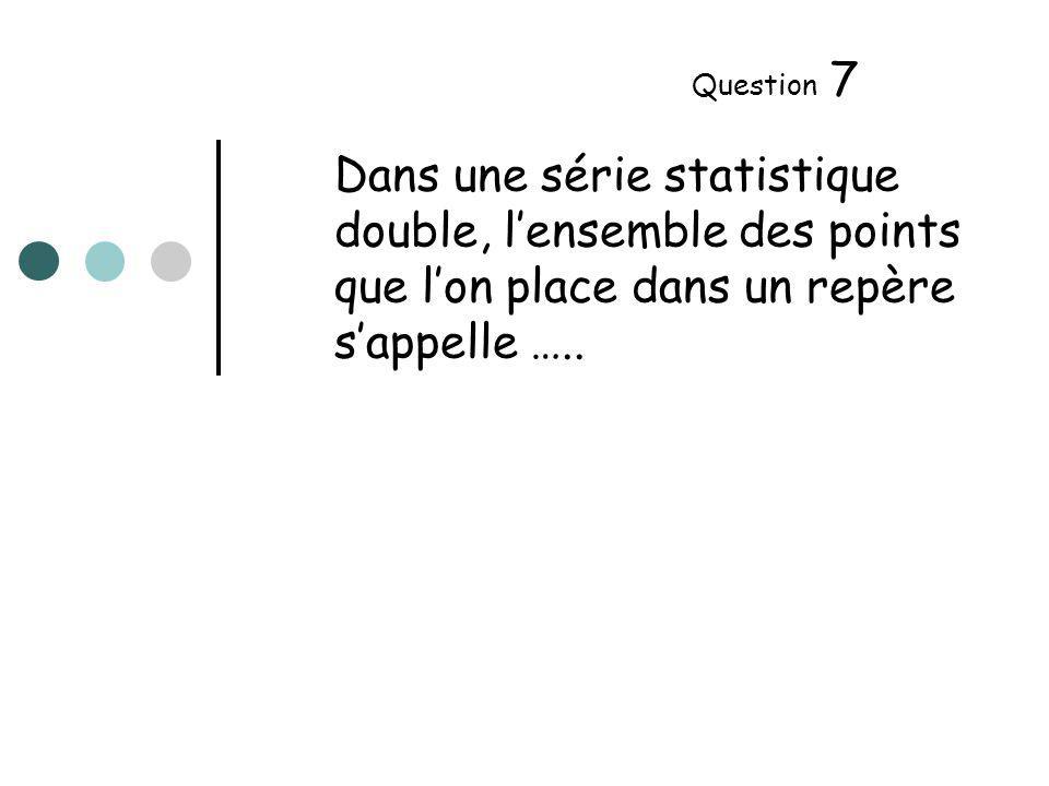 Dans une série statistique double, lensemble des points que lon place dans un repère sappelle …..