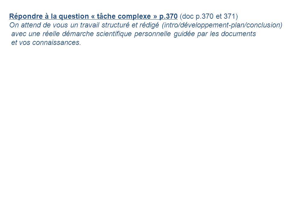Répondre à la question « tâche complexe » p.370 (doc p.370 et 371) On attend de vous un travail structuré et rédigé (intro/développement-plan/conclusi