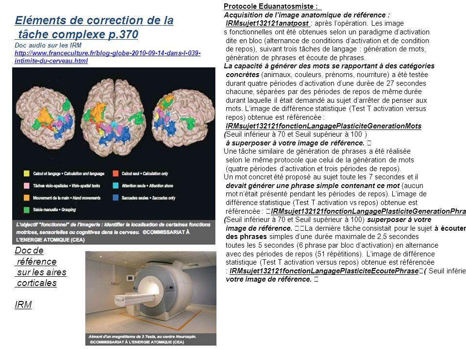 Eléments de correction de la tâche complexe p.370 Doc audio sur les IRM http://www.franceculture.fr/blog-globe-2010-09-14-dans-l-039- intimite-du-cerv