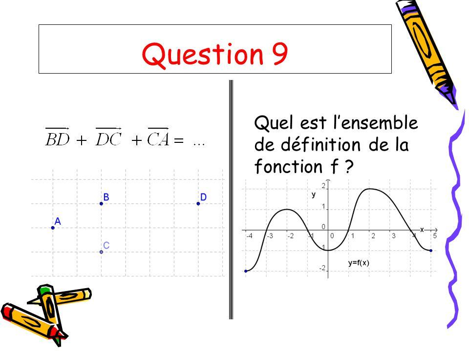 Question 9 Quel est lensemble de définition de la fonction f ?