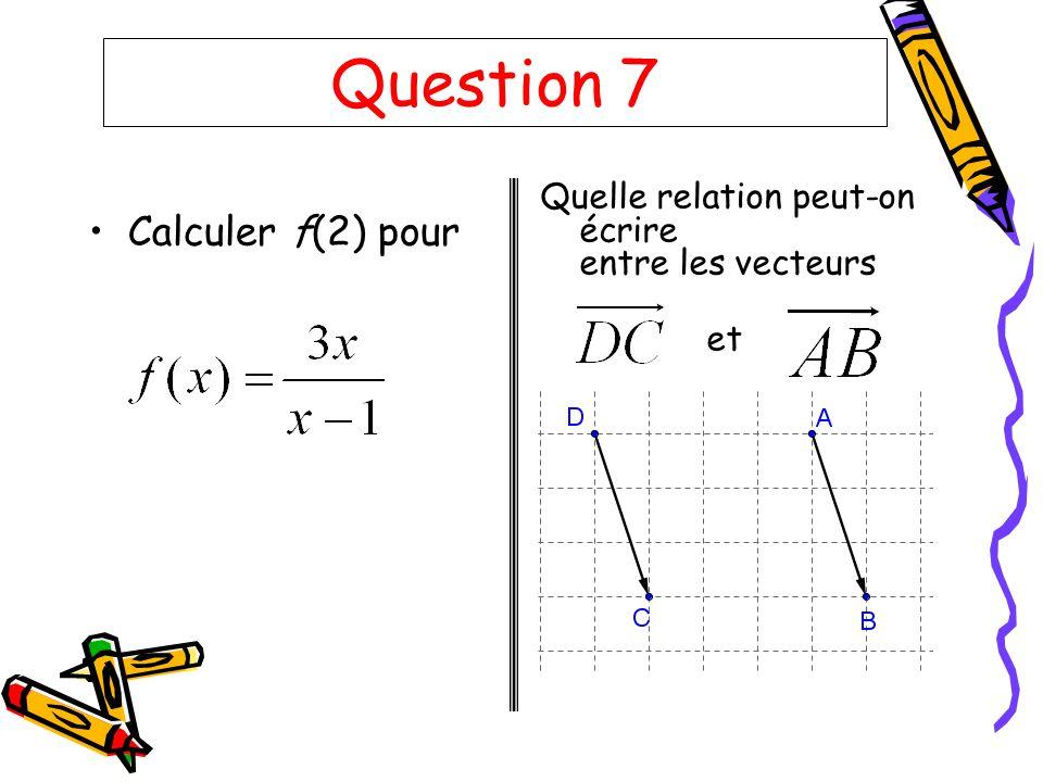 Question 7 Calculer f(2) pour Quelle relation peut-on écrire entre les vecteurs et