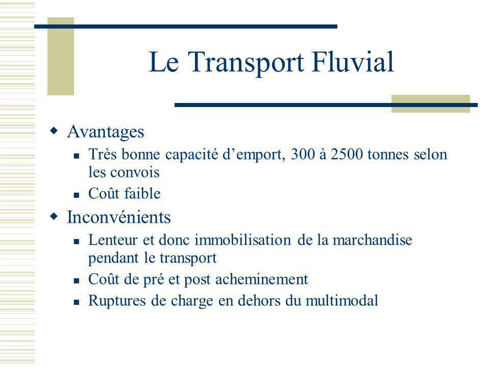 Le Transport Fluvial Avantages Très bonne capacité demport, 300 à 2500 tonnes selon les convois Coût faible Inconvénients Lenteur et donc immobilisati