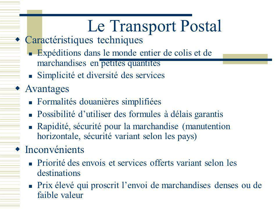 Le Transport Postal Caractéristiques techniques Expéditions dans le monde entier de colis et de marchandises en petites quantités Simplicité et divers