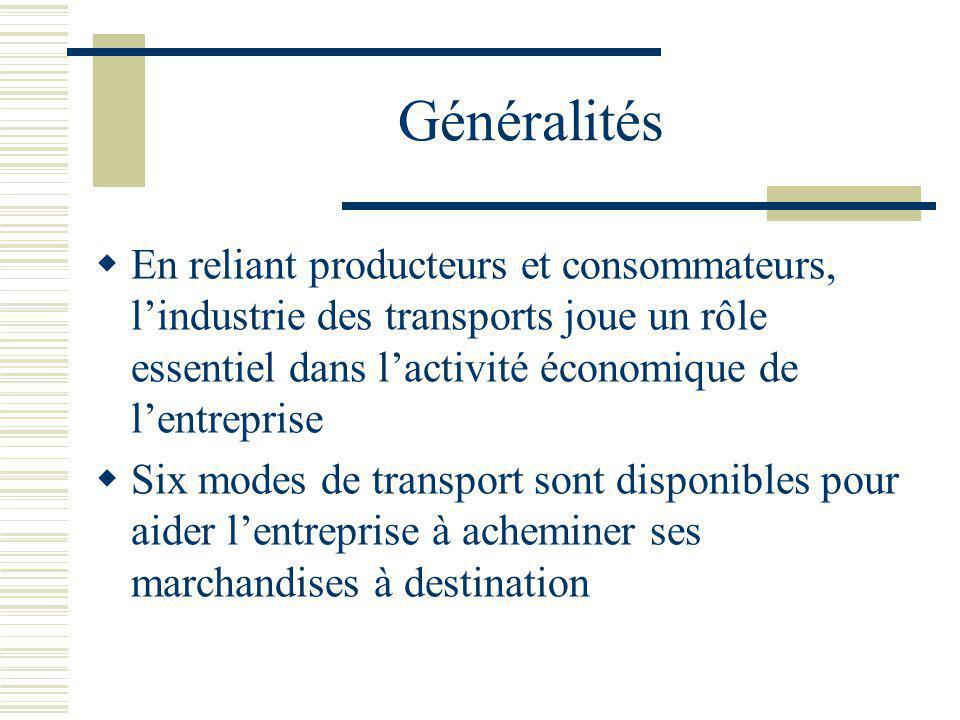 Généralités En reliant producteurs et consommateurs, lindustrie des transports joue un rôle essentiel dans lactivité économique de lentreprise Six mod