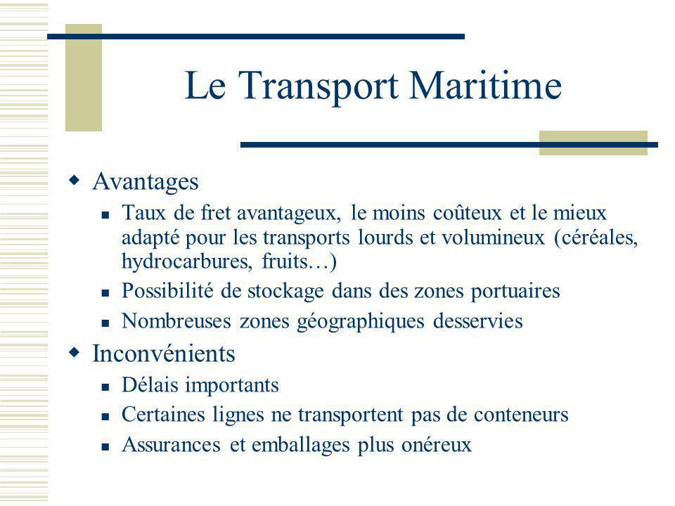 Le Transport Maritime Avantages Taux de fret avantageux, le moins coûteux et le mieux adapté pour les transports lourds et volumineux (céréales, hydro