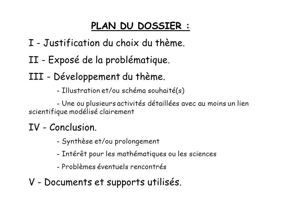 PLAN DU DOSSIER : I - Justification du choix du thème.