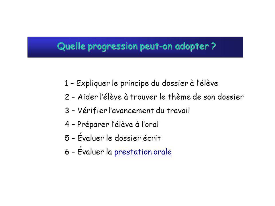 Quelle progression peut-on adopter ? 1 – Expliquer le principe du dossier à lélève 2 – Aider lélève à trouver le thème de son dossier 3 – Vérifier lav