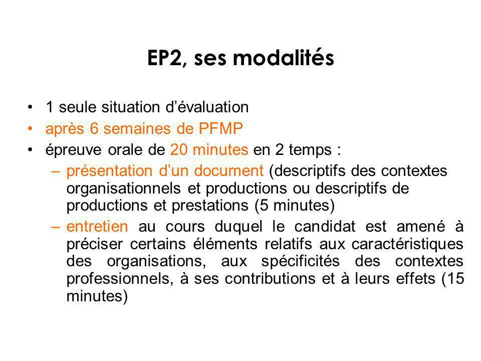 1 seule situation dévaluation après 6 semaines de PFMP épreuve orale de 20 minutes en 2 temps : –présentation dun document (descriptifs des contextes