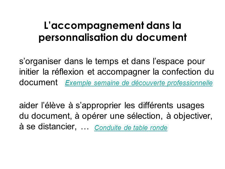 Laccompagnement dans la personnalisation du document sorganiser dans le temps et dans lespace pour initier la réflexion et accompagner la confection d