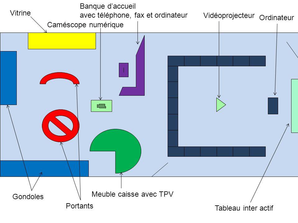 Banque daccueil avec téléphone, fax et ordinateur Vitrine Gondoles Meuble caisse avec TPV Portants Vidéoprojecteur Tableau inter actif Ordinateur Camé