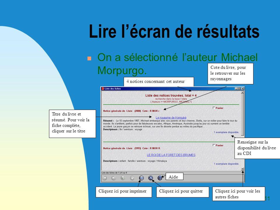 10 2-3 Recherche par auteur Pour accéder à lécran correspondant, cliquez sur longlet auteur.
