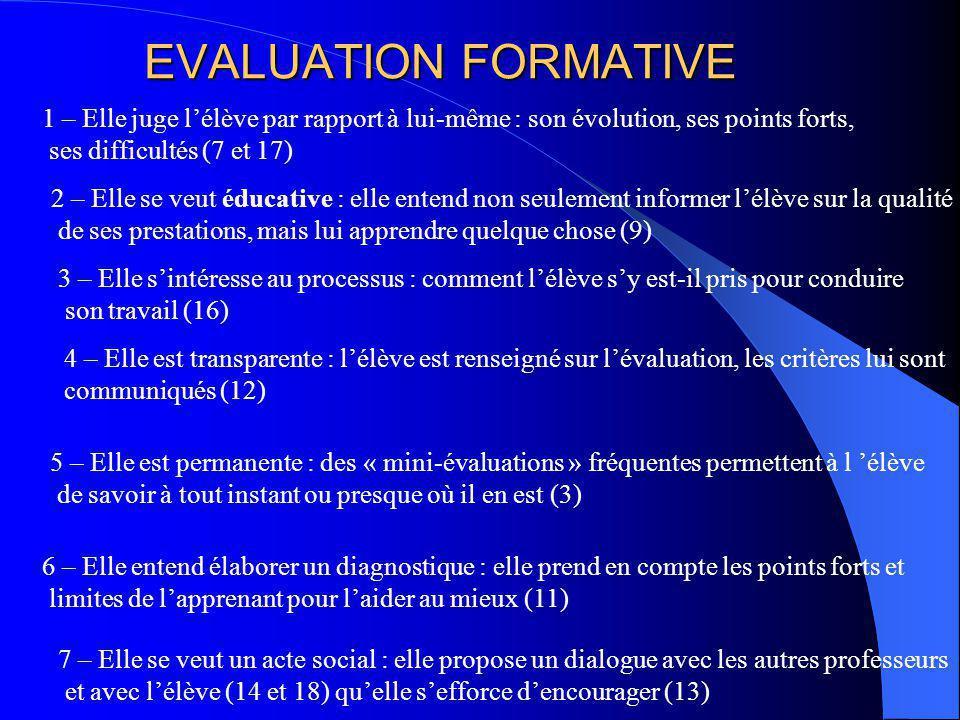 EVALUATION FORMATIVE 1 – Elle juge lélève par rapport à lui-même : son évolution, ses points forts, ses difficultés (7 et 17) 2 – Elle se veut éducati