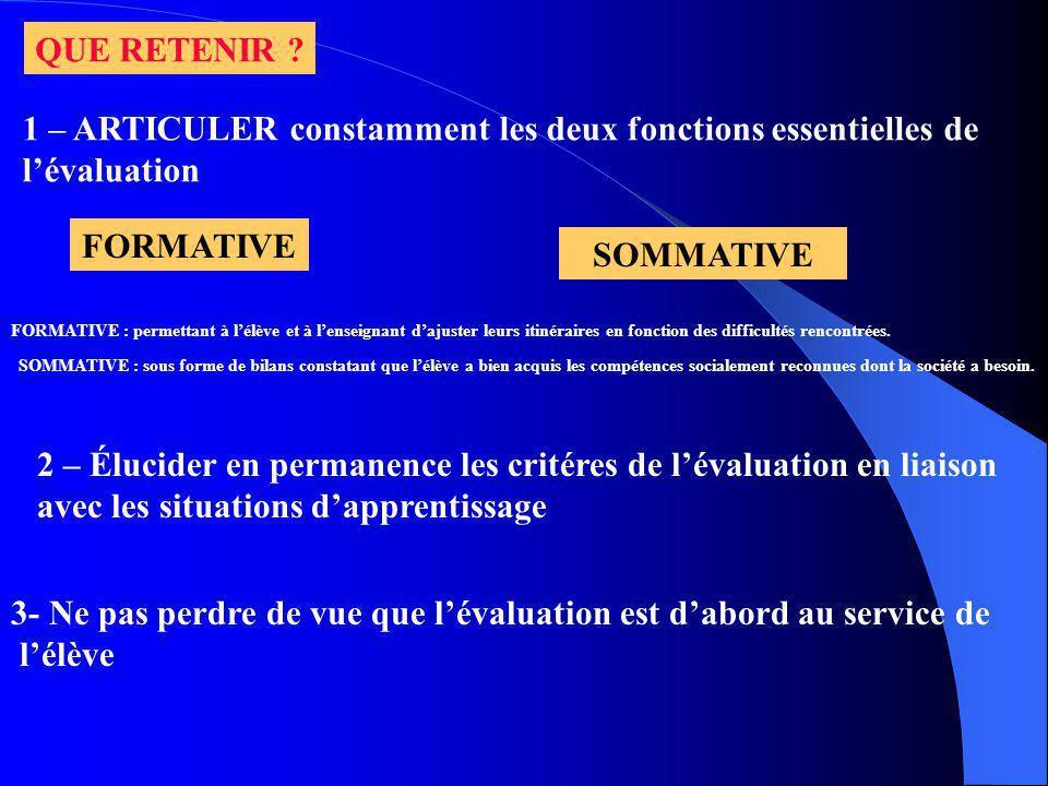QUE RETENIR ? 1 – ARTICULER constamment les deux fonctions essentielles de lévaluation FORMATIVE SOMMATIVE FORMATIVE : permettant à lélève et à lensei