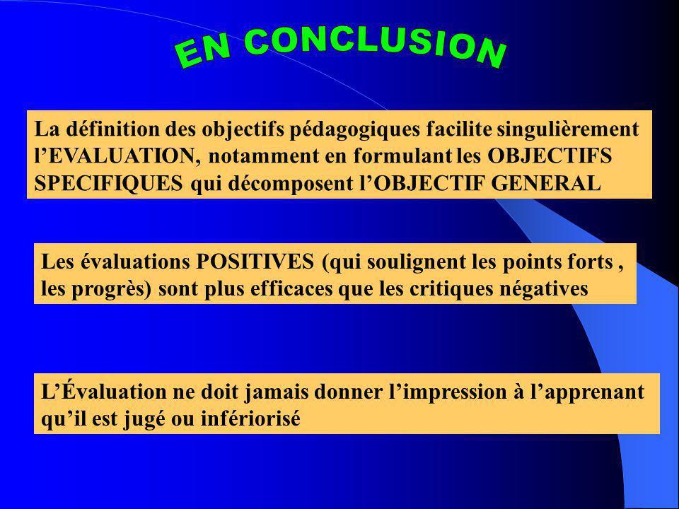 La définition des objectifs pédagogiques facilite singulièrement lEVALUATION, notamment en formulant les OBJECTIFS SPECIFIQUES qui décomposent lOBJECT