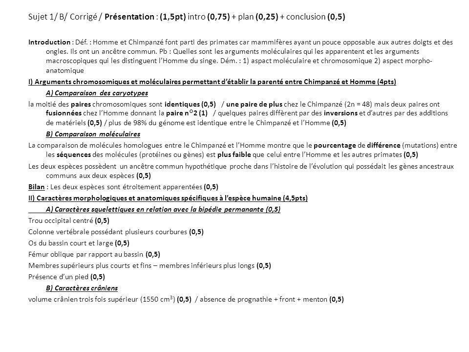 Sujet 1/ B/ Corrigé / Présentation : (1,5pt) intro (0,75) + plan (0,25) + conclusion (0,5) Introduction : Déf. : Homme et Chimpanzé font parti des pri