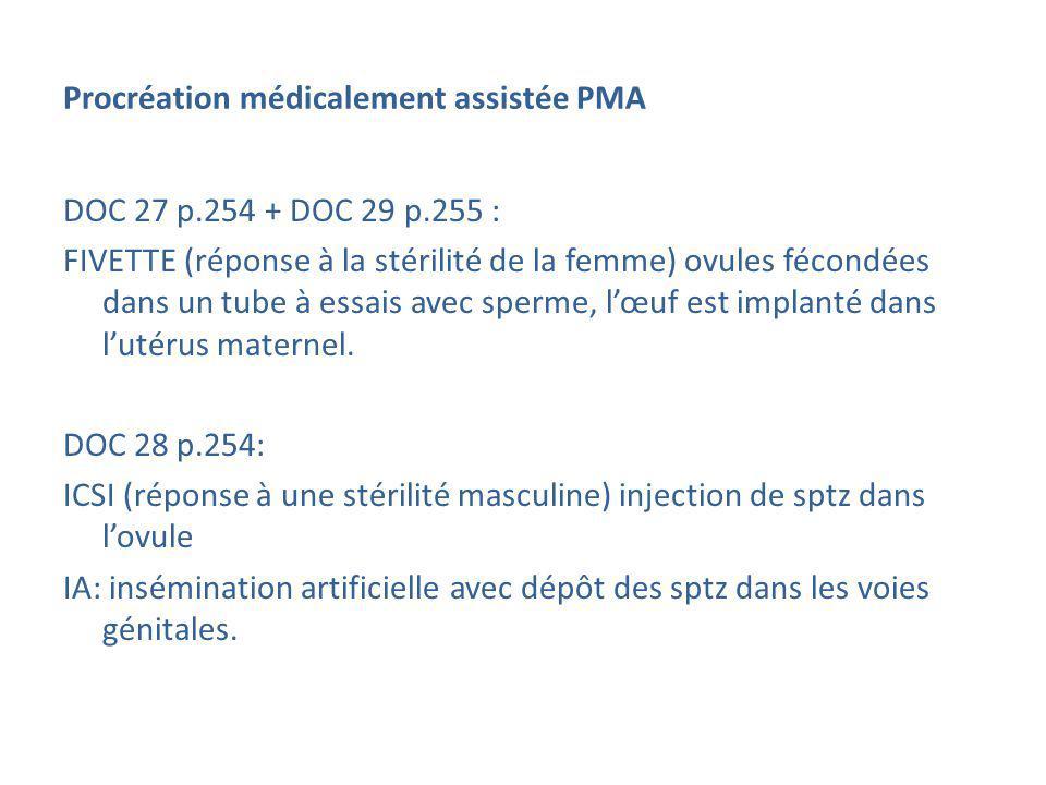 Procréation médicalement assistée PMA DOC 27 p.254 + DOC 29 p.255 : FIVETTE (réponse à la stérilité de la femme) ovules fécondées dans un tube à essai