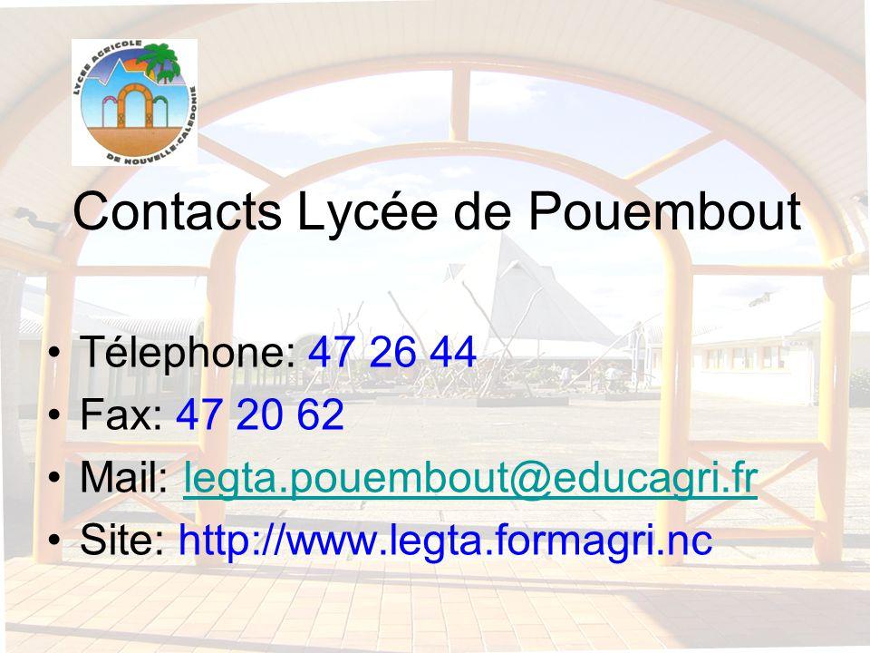 Contacts Lycée de Pouembout Télephone: 47 26 44 Fax: 47 20 62 Mail: legta.pouembout@educagri.frlegta.pouembout@educagri.fr Site: http://www.legta.form