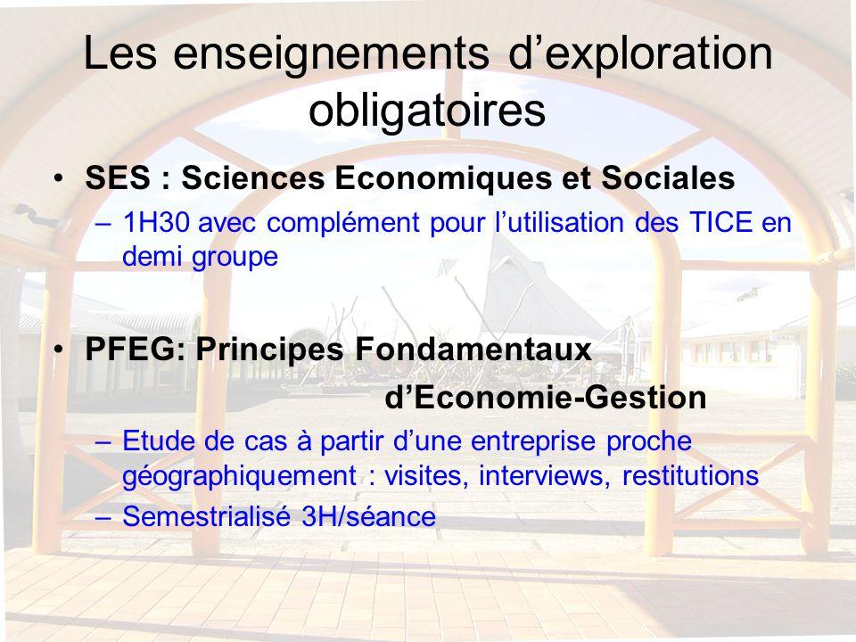 Les enseignements dexploration obligatoires SES : Sciences Economiques et Sociales –1H30 avec complément pour lutilisation des TICE en demi groupe PFE