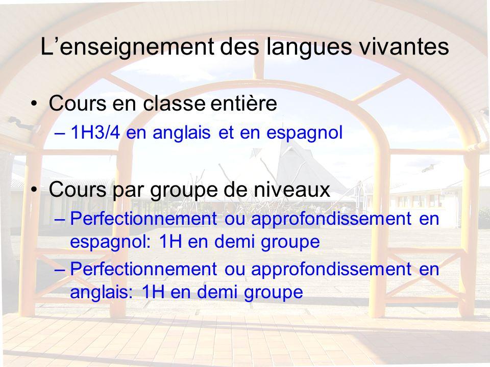 Lenseignement des langues vivantes Cours en classe entière –1H3/4 en anglais et en espagnol Cours par groupe de niveaux –Perfectionnement ou approfond