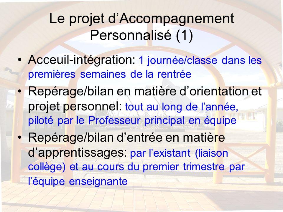 Le projet dAccompagnement Personnalisé (1) Acceuil-intégration: 1 journée/classe dans les premières semaines de la rentrée Repérage/bilan en matière d