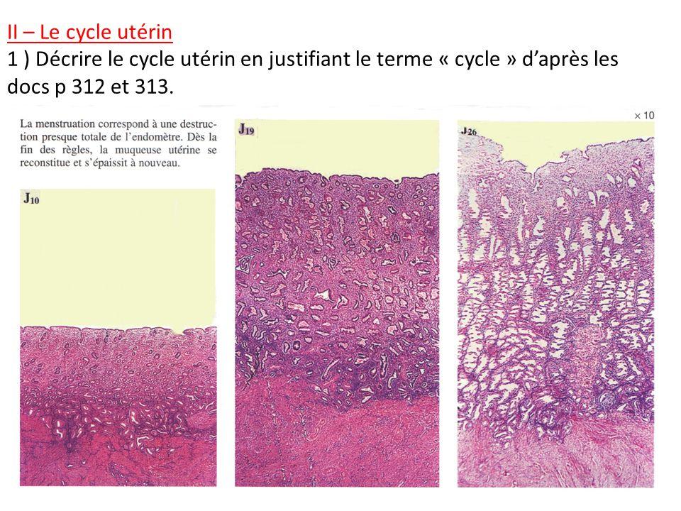 II – Le cycle utérin 1 ) Décrire le cycle utérin en justifiant le terme « cycle » daprès les docs p 312 et 313.