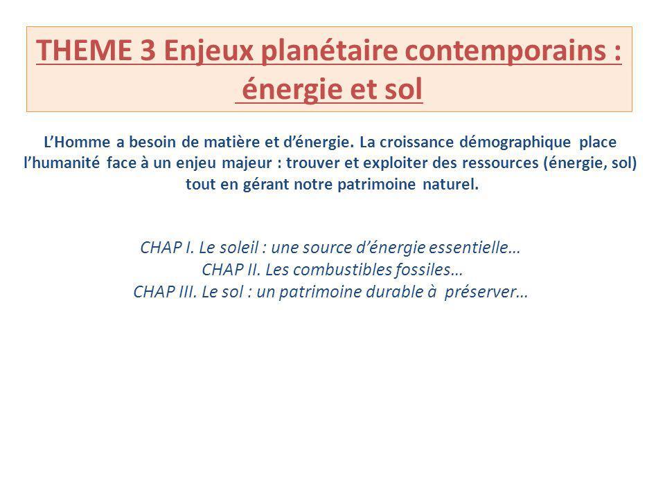 THEME 3 Enjeux planétaire contemporains : énergie et sol LHomme a besoin de matière et dénergie. La croissance démographique place lhumanité face à un