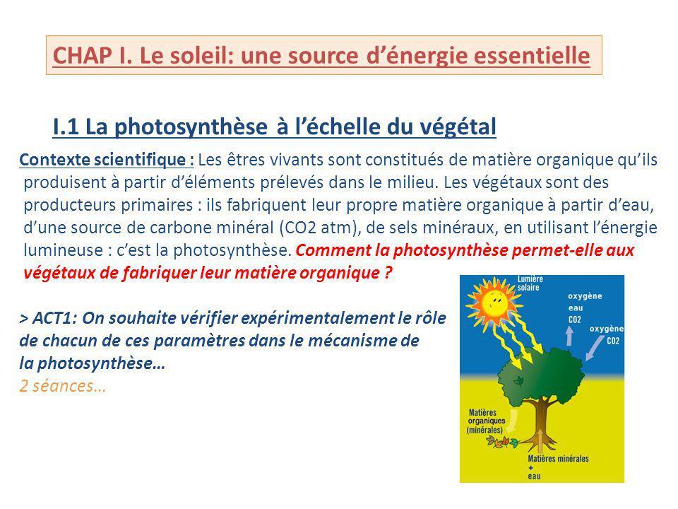 CHAP I. Le soleil: une source dénergie essentielle I.1 La photosynthèse à léchelle du végétal Contexte scientifique : Les êtres vivants sont constitué