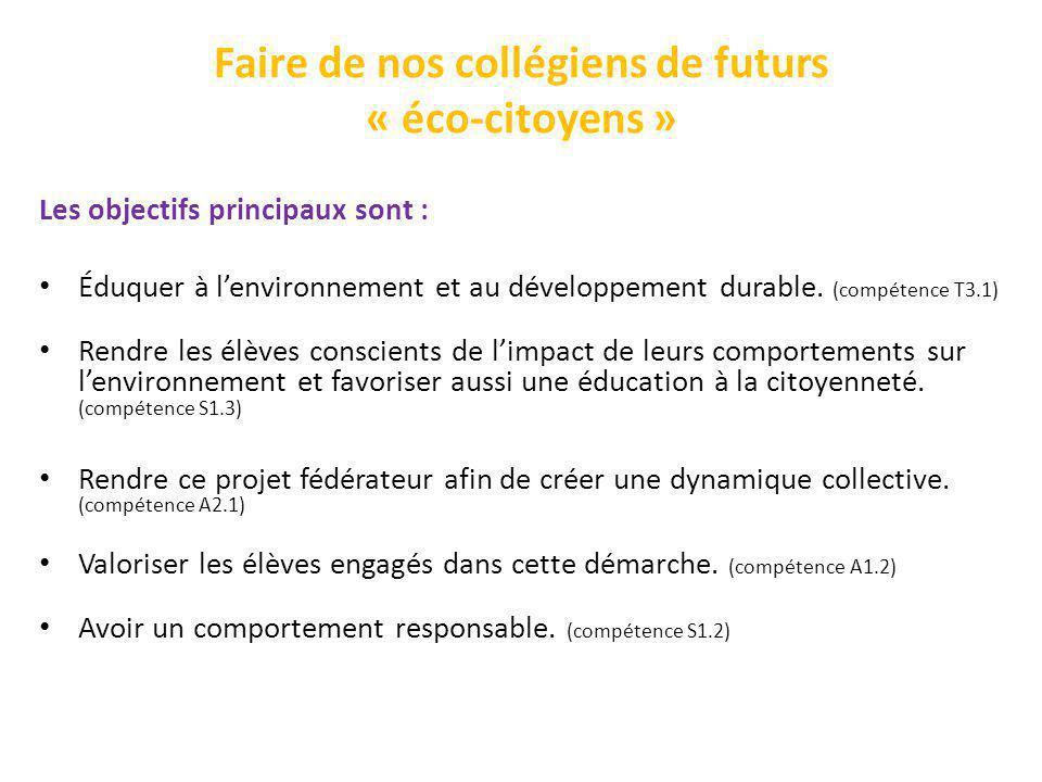 Faire de nos collégiens de futurs « éco-citoyens » Les objectifs principaux sont : Éduquer à lenvironnement et au développement durable. (compétence T