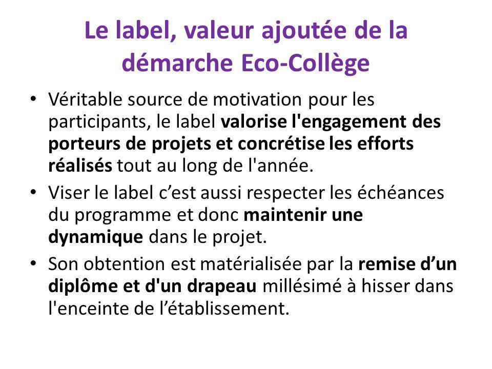 Le label, valeur ajoutée de la démarche Eco-Collège Véritable source de motivation pour les participants, le label valorise l'engagement des porteurs