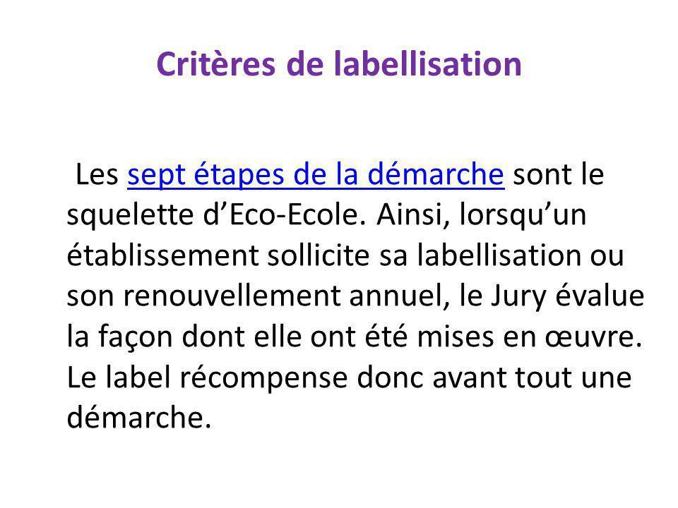 Critères de labellisation Les sept étapes de la démarche sont le squelette dEco-Ecole. Ainsi, lorsquun établissement sollicite sa labellisation ou son