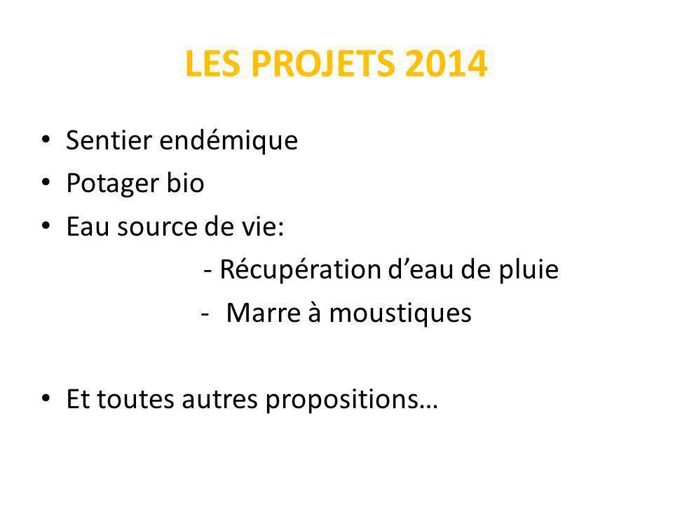 LES PROJETS 2014 Sentier endémique Potager bio Eau source de vie: - Récupération deau de pluie -Marre à moustiques Et toutes autres propositions…