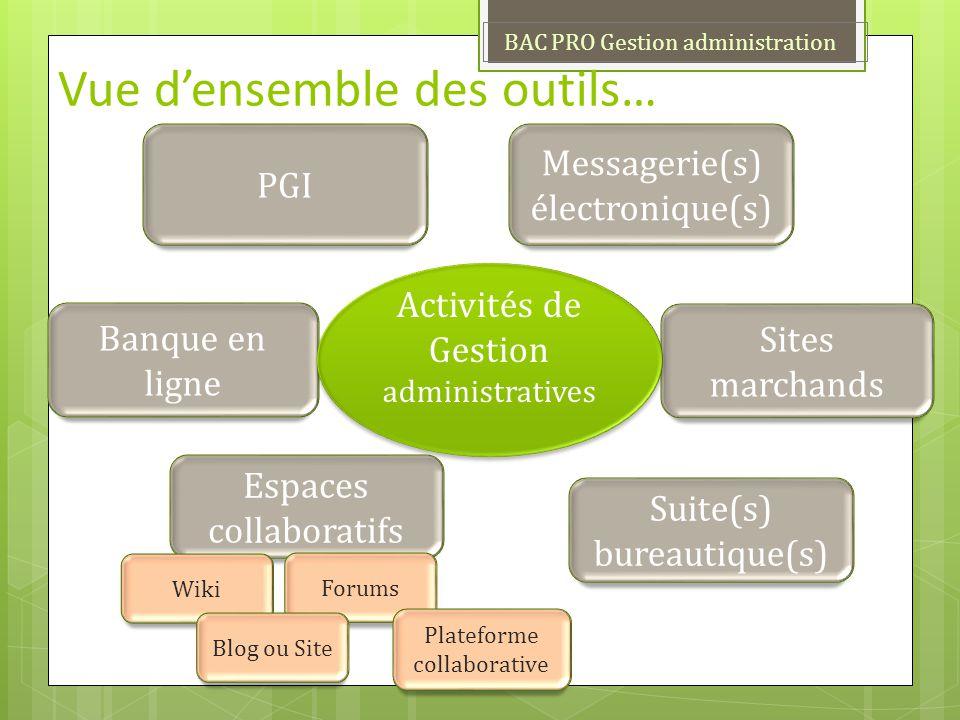 PGI Messagerie(s) électronique(s) Sites marchands Vue densemble des outils… Banque en ligne Suite(s) bureautique(s) Activités de Gestion administrativ