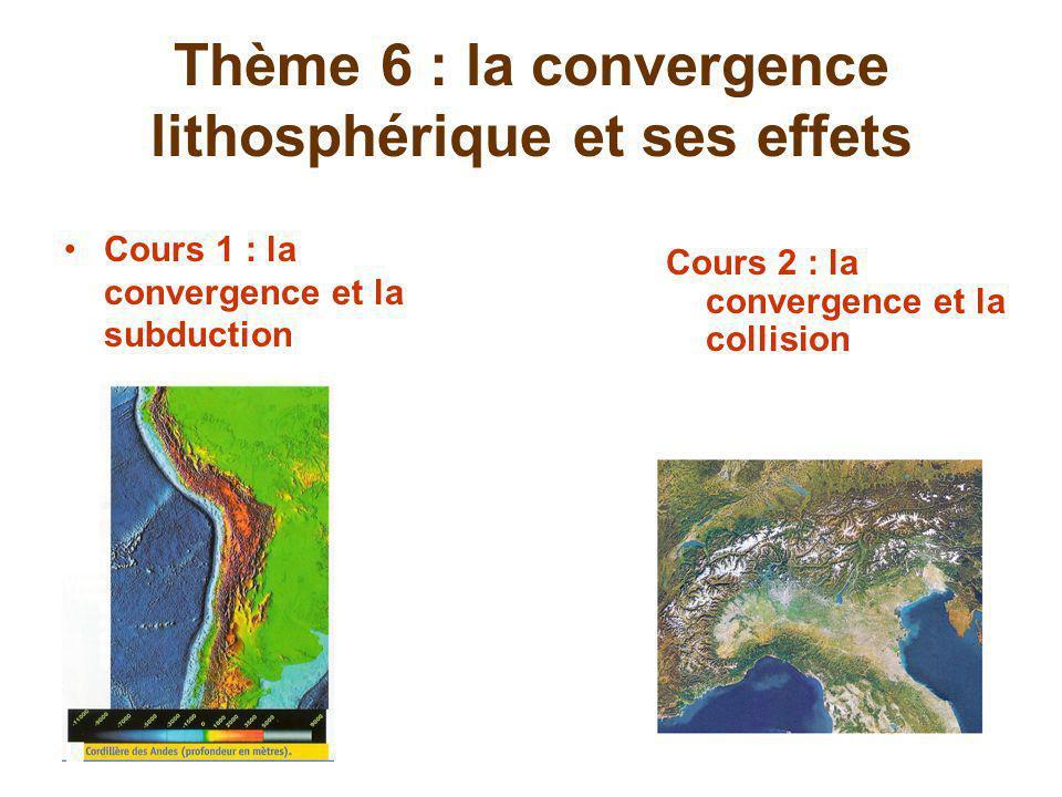 Thème 6 : la convergence lithosphérique et ses effets Cours 1 : la convergence et la subduction Cours 2 : la convergence et la collision