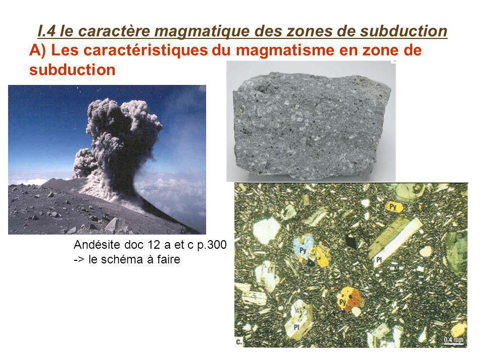 A) Les caractéristiques du magmatisme en zone de subduction I.4 le caractère magmatique des zones de subduction Andésite doc 12 a et c p.300 -> le schéma à faire