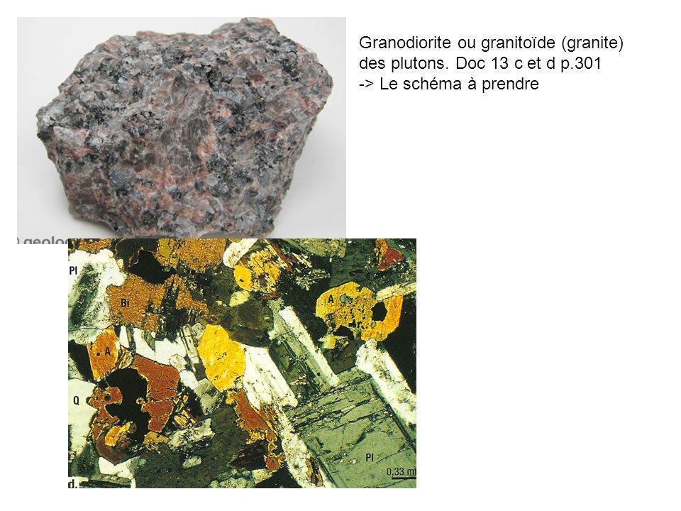 Granodiorite ou granitoïde (granite) des plutons. Doc 13 c et d p.301 -> Le schéma à prendre