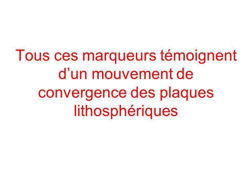 Tous ces marqueurs témoignent dun mouvement de convergence des plaques lithosphériques