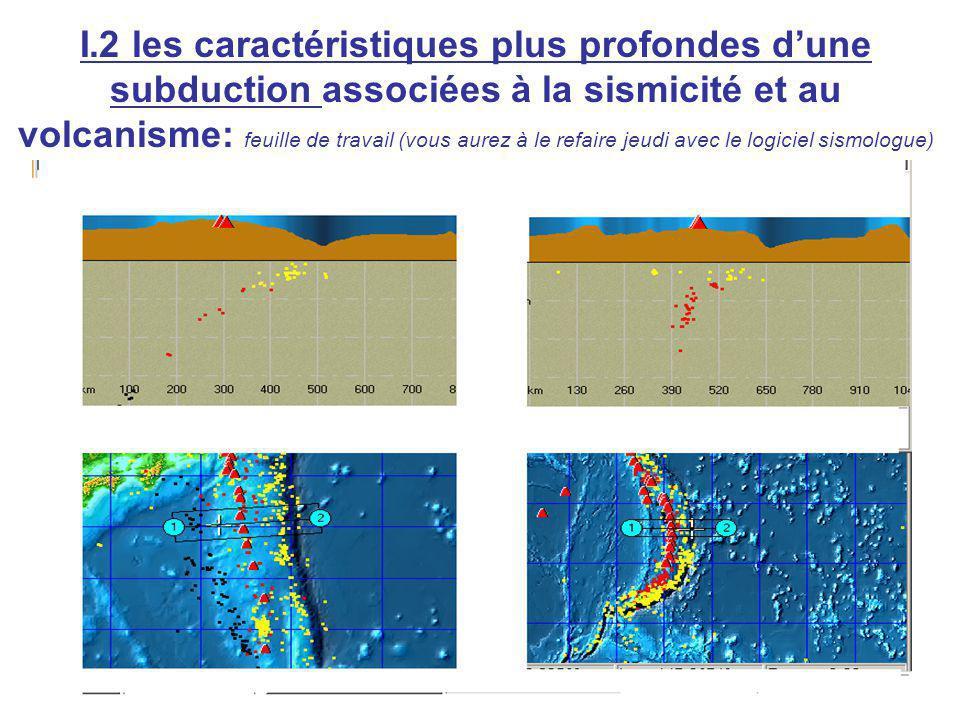 I.2 les caractéristiques plus profondes dune subduction associées à la sismicité et au volcanisme: feuille de travail (vous aurez à le refaire jeudi avec le logiciel sismologue)