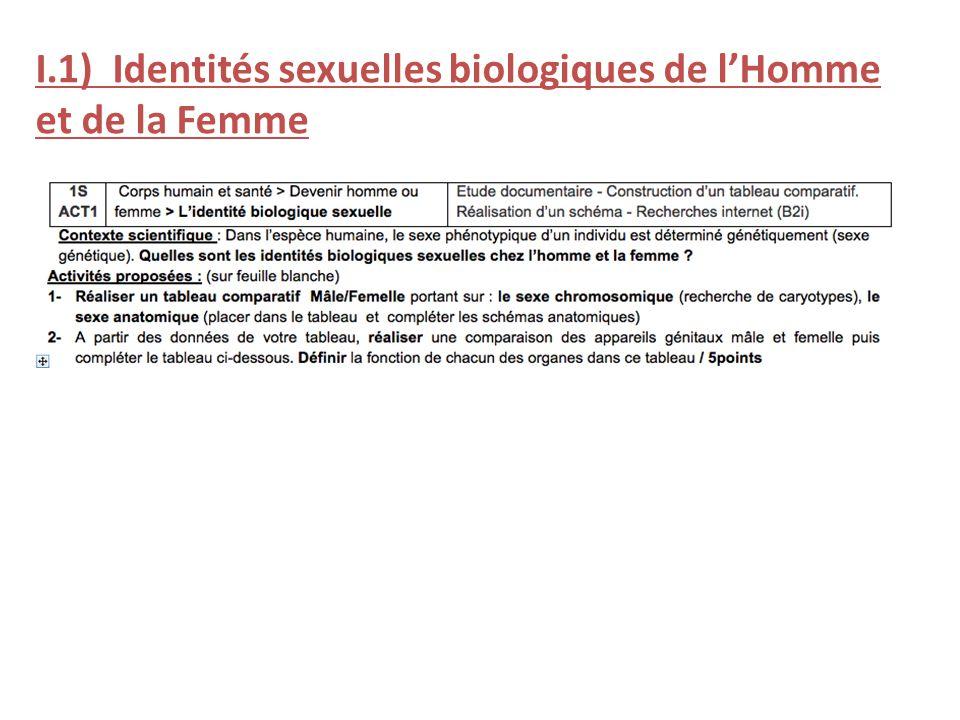 I.1) Identités sexuelles biologiques de lHomme et de la Femme